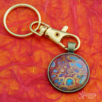 Fire Fluid Art Keyring