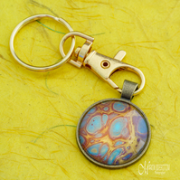 Gold Blue Lava 2 Fluid Art Keyring