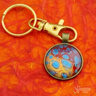 Gold Blue Lava Fluid Art Keyring