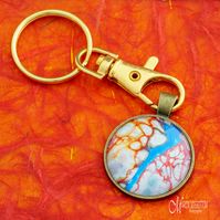 Ice Lava River Fluid Art Keyring