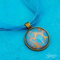 Azure Gold Fluid Art Pendant
