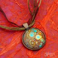 Amber Fire Fluid Art Pendant