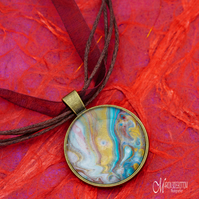 River & Gold Fluid Art Pendant