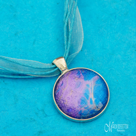 Violet Blue Fluid Art Pendant