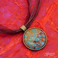 Gold Blue Fire Fluid Art Pendant