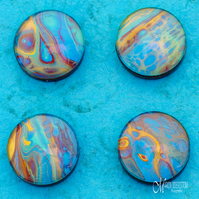 Fluid Art Azure Gold 3 Magnets