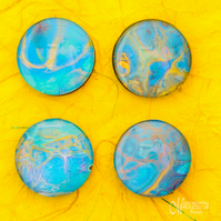 Fluid Art Azure Gold 4 Magnets