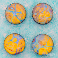 Fluid Art Amber Gold Magnets