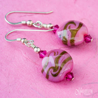 Rose Pink & Gold Swirl Earrings