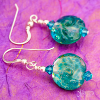 Green Frit Swirl Earrings