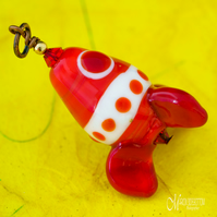 Red Retro Rocket Pendant