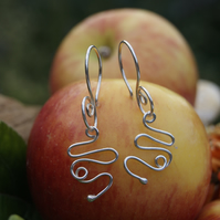 Unusual Handmade Silver Snake earrings