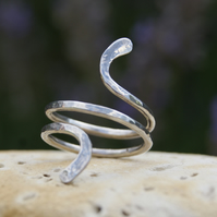 Elegant handmade sterling silver 'abstract snake ring'