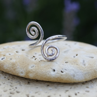 HANDCRAFTED STERLING SILVER DOUBLE SPIRAL THUMB RING