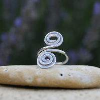 Handcrafted Bespoke Sterling Silver double spiral ring