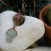 Handmade tear drop Copper and Sea glass pendant
