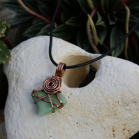 Chrysoprase Wire wrapped Copper Pendant