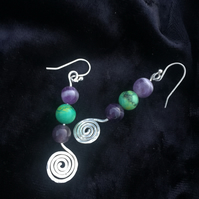 Sterling Silver spiral amethyst and emerald handmade earrings