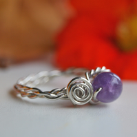 Amethyst Bead and Solid Sterling Silver Wire Wrapped Ringing - Made to Order.