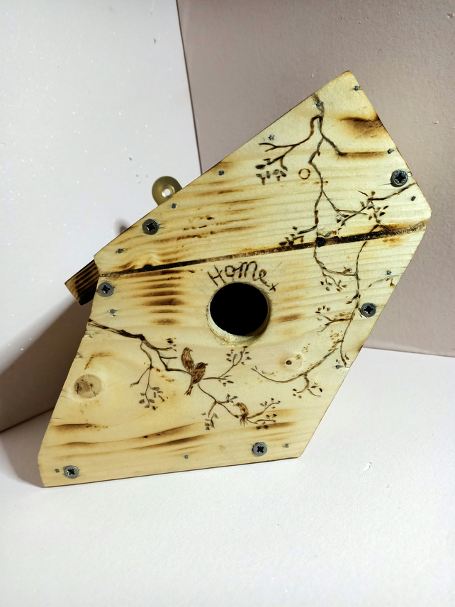 Reclaimed wooden bird house with pyrography