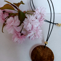Wooded Pendant Necklace wooden jewellery Handmade Elm Burr