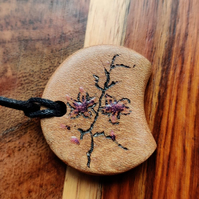 Cherry Blossom jewellery wooden pendant wood cherry blossom pyrography pendant