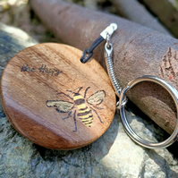 bee happy busy bee wooden keyring handmade pyrography