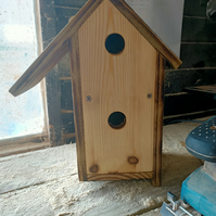 Quirky wooden bird house twin birdhouse