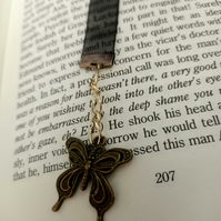 Black Sheer Ribbon Bookmark with champagne beads and Butterfly