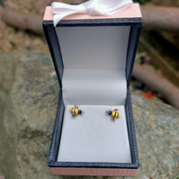Bumble Bee Silver stud earrings