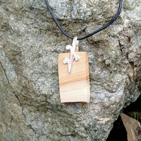 Yew Scroll wooden Pendant