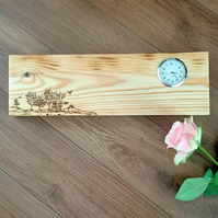 Reclaimed pallet wood pyrography wall clock