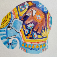 Elephant teacosy handpainted card blue