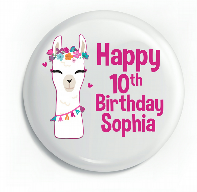Personalised Glossy Llama Colourful Kids Pin Badge 75mm x 75mm