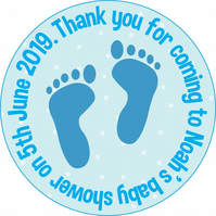 Personalised Glossy Baby Feet Circle Party Labels x 15