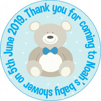 Baby Shower Personalised Teddy Bear Circle GLOSSY Labels x 15