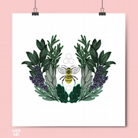 Lavender Bee Print - Nature Art - Bee Art - Botanical Art Print
