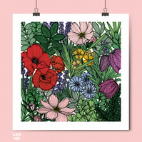 Wildflower Meadow Print - Wildflower Art Print - Floral Illustration - Flowers