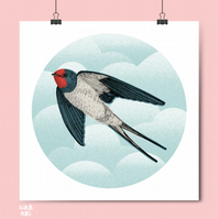 Swallow Bird Print - Cloudy Sky - Bird Art - Bird Illustration - Bird Drawing