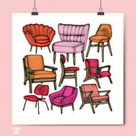 Retro Chairs Risograph Print - Mid Century Chairs - Retro Chairs - Retro Art