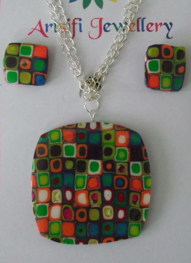 OOAK handmade polymer clay pendant set made in Millefiori design