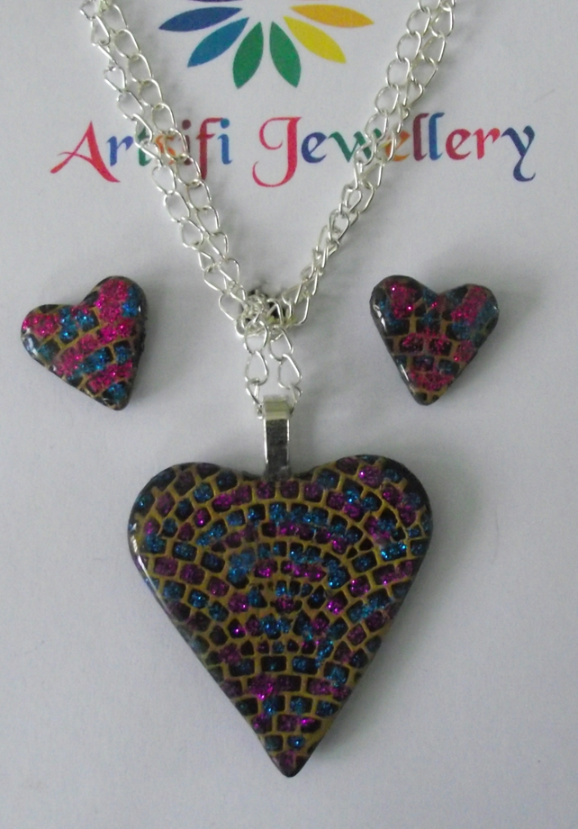 Pretty handmade polymer clay heart pendant set in gold, pink, turquoise, black