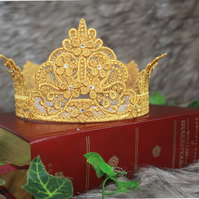 Fairy Tale Princess Crown with Swarovski Crystals Metallic Gold Lace Thread