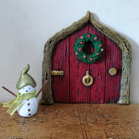 Red Christmas Fairy Door and snowman.