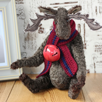 Harry - a Jointed Vintage Art Silk Artist Teddy Bear Reindeer, Elk, Moose