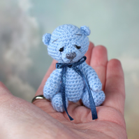 SOLD - William a Miniature Thread Crochet Jointed Blue Teddy Bear