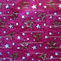 Large sheet pink tissue paper linoprinted with stars