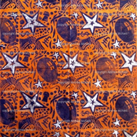 Hand printed and coloured orange tissue paper