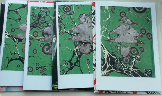 Pack of four handprinted Christmas cards, bronze Christmas tree design