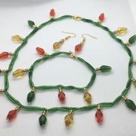 Christmas lights necklace, earrings and bracelet set
